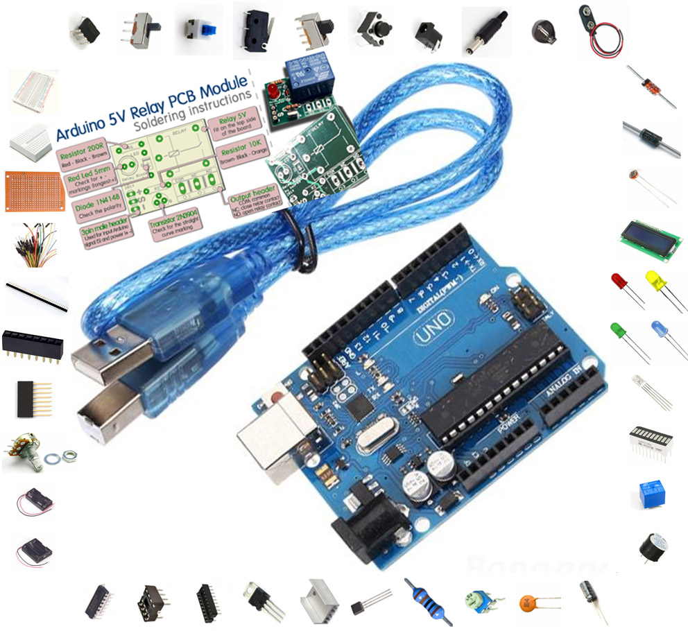 Arduino uno r board with pcs kit breadboard lcd