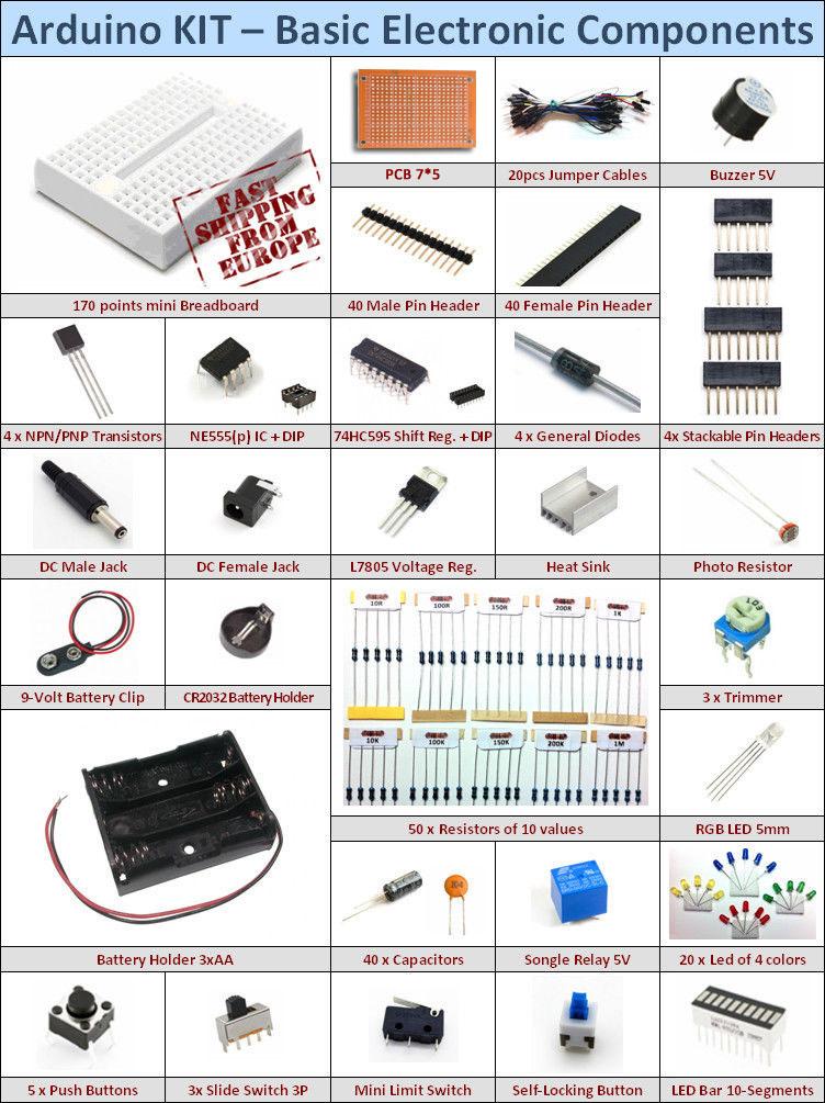 Arduino Kit - Electronic Starter Basic Pack [Mini Breadboard ...
